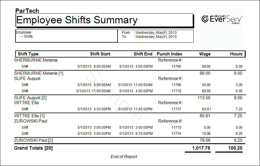EmployeeShiftWithPunchIndexDetailed