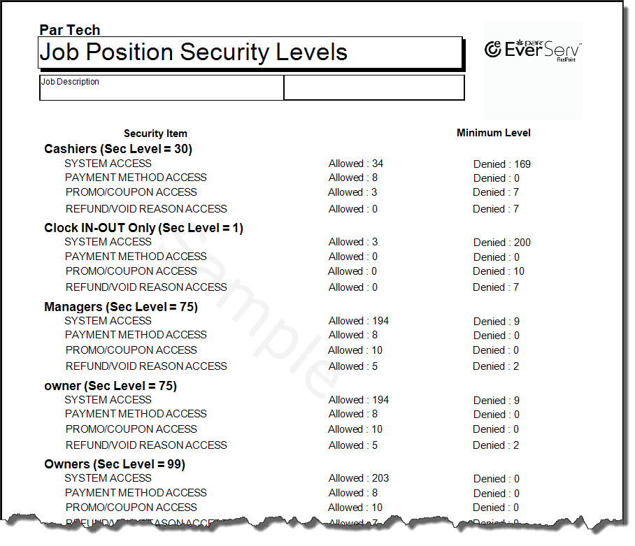 Job Position Security Levels