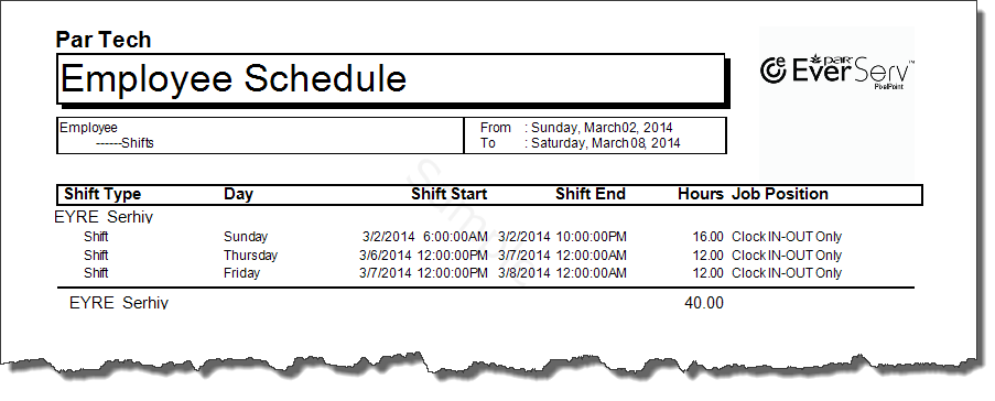 Schedule By Employee